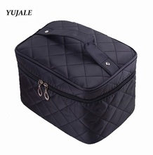 Cosmetic box 2015 new female Quilted professional cosmetic bag women's large capacity storage handbag travel toiletry makeup bag(China (Mainland))