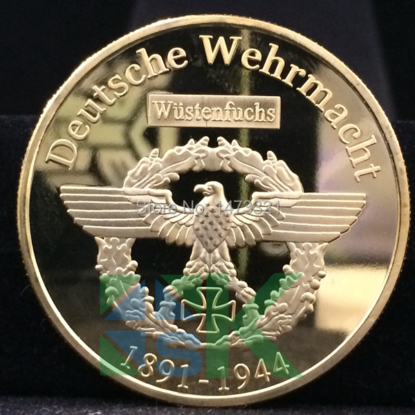 produto 5pcs/lot  2015 WW2 Germany Deutsche Wehrmacht  commemorative coins Commander Erwin Rommel War Coin free shipping
