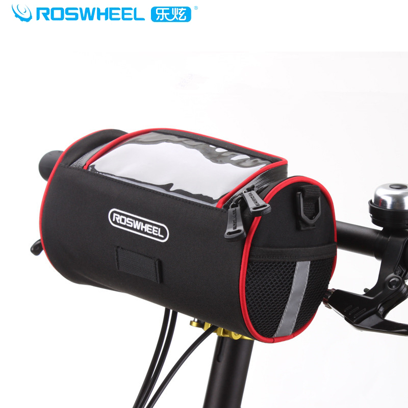 ROSWHEEl 2014 New Bicycle Front Head Handlebar Bag Cycling Head Package Bicycle Accessories Single Shoudler Bag Black-Red(China (Mainland))