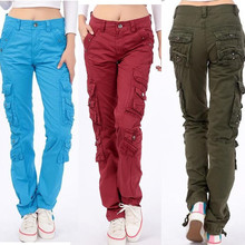 2015 womens casual outdoor sport joggers denim harem cargo pants Military army fatigue jeans trousers hip hop baggy sweat pants(China (Mainland))