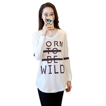 Buy new 2017 Spring summer fashion T-shirt Cultivate one's morality pure color letters long sleeve v-neck t-shirts+size for $18.82 in AliExpress store