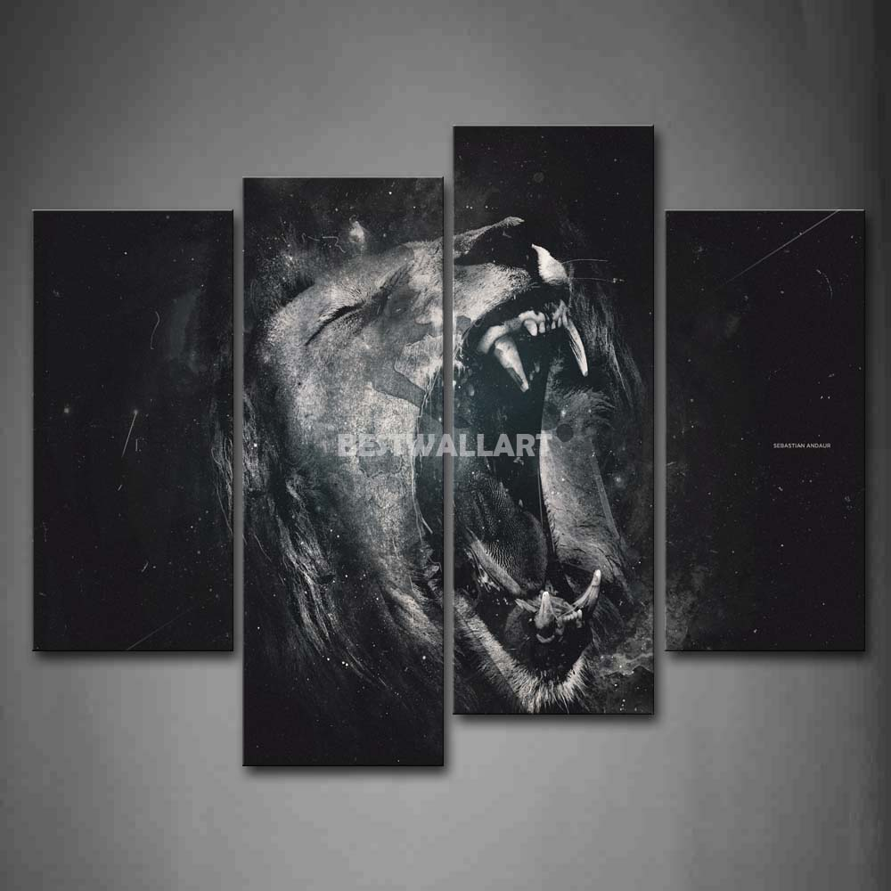 store product Lion Open Mouth Head Portrait  Piece Black And White Painting On Canvas Wall Art Print
