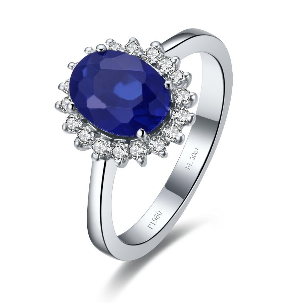 Wholesale Drop Shipping New Fabulous Halo Style 14k White Gold Ring High Quality Blue Synthetic Diamond Engagement Wedding Ring(China (Mainland))