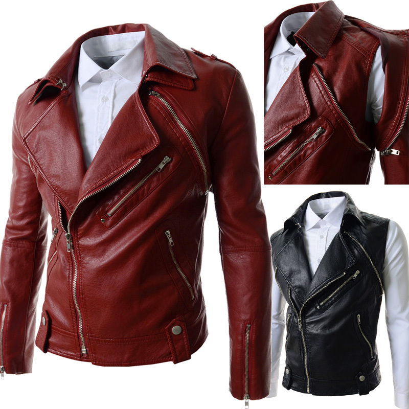 Mens Red Leather Jacket Photo Album - Fashion Trends and Models