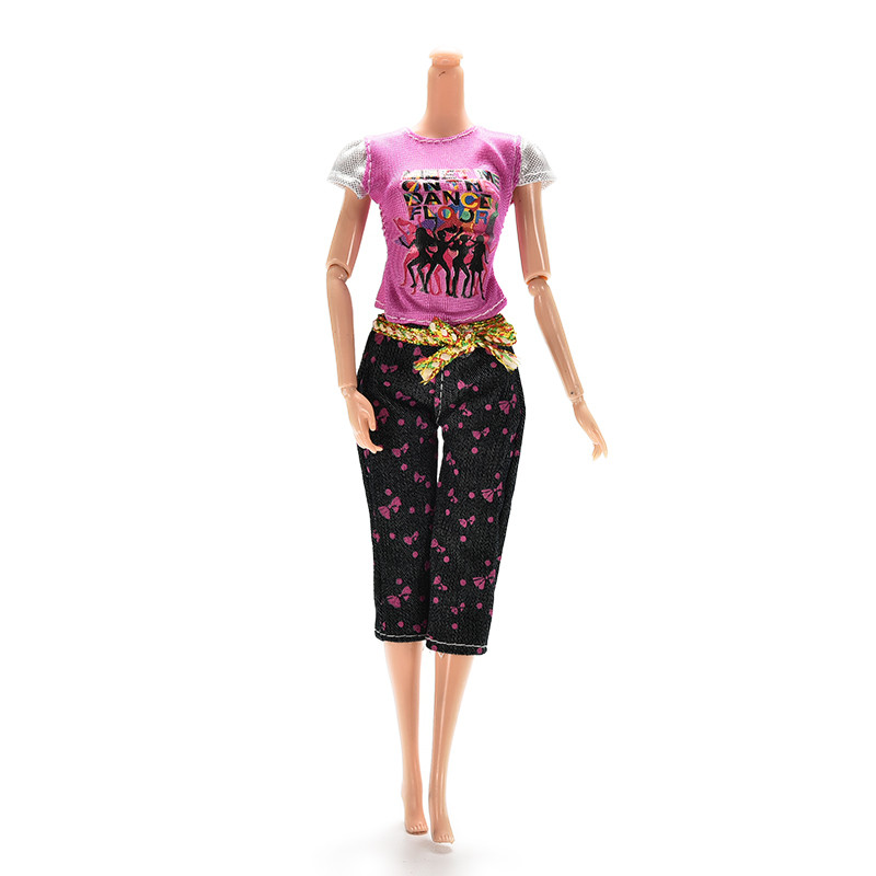1Set Informal Doll Garments Quick Sleeve T-shirt + Pants Trousers for Barbies Doll Home for 1/6 BJD Doll Accent