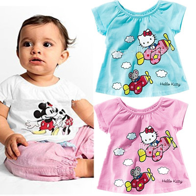 Гаджет  Girls baby clothes cartoon Hello kitty KT casual short-sleeved T-shirt Kids Wawa Shan free shipping None Детские товары