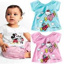 Girls baby clothes cartoon Hello kitty KT casual short sleeved T shirt Kids Wawa Shan free