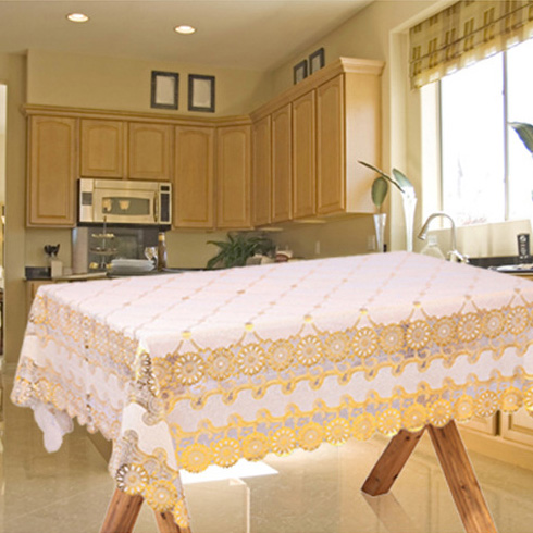 Oblong Table Cloth golden European PVC elegant advanced printed table cloth(China (Mainland))