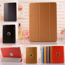 Newest 3 Foldable Ball Skin Magnetic Leather Case for iPad6 Ultrathin Business Stand Smart Cover for iPad 6 Air2 8 Colors(China (Mainland))