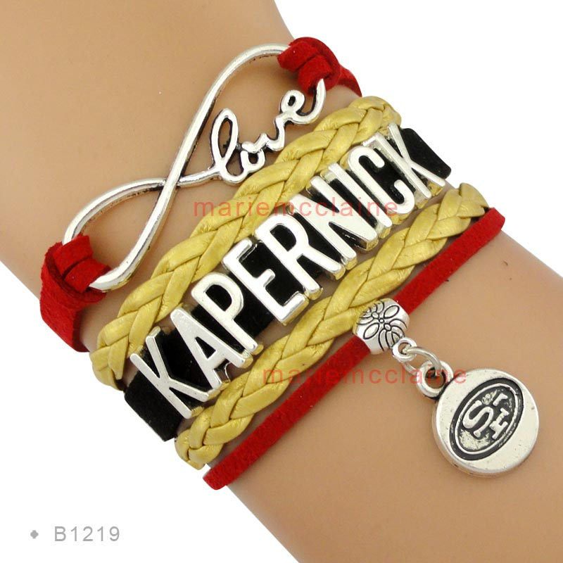 (10 Pieces/Lot)Infinity Love 49ers Kapernick Fans Multilayer Bracelet Black Red Gold Leather Women's Fashion Sports Gift Jewelry(China (Mainland))