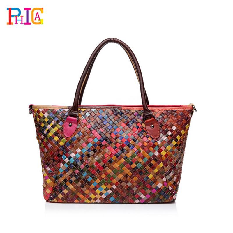 Brand Real Cowhide Genuine Leather Women's Handbag Messenger Bag Vintage Large Capacity Handmade Weaving Tote - Phica store