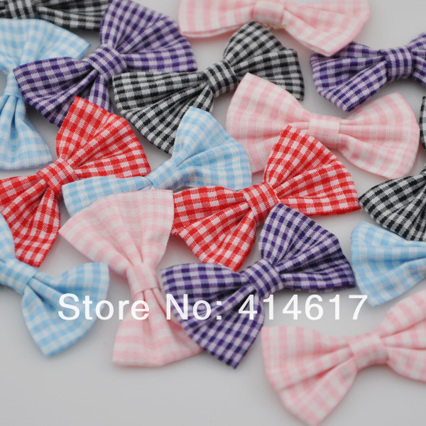 U Pick 200pcs font b Tartan b font plaid Ribbon Bows flower Appliques craft Lots mix