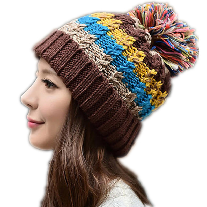 2016 New Arrival Autumn Winter Womens Hats Adult Unisex Casual Striped Skullies Beanies Warm Knitted Bandana Cap C45(China (Mainland))