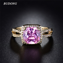 Buy BUDONG Brand New Halo Finger Band Gold-Color Lady Ring Square Pink Crystal Cubic Zirconia Wedding Jewelry Women XUR318 for $3.65 in AliExpress store