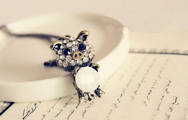 Free Shipping Retro Cute Shinning Pig Long Sweater Chain Necklace L230