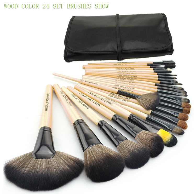 Stage Makeup Brush 24pcs set 3color Brushes set tools portable full Cosmetic brush tools Foundation Eyeshadow Lip brush(China (Mainland))
