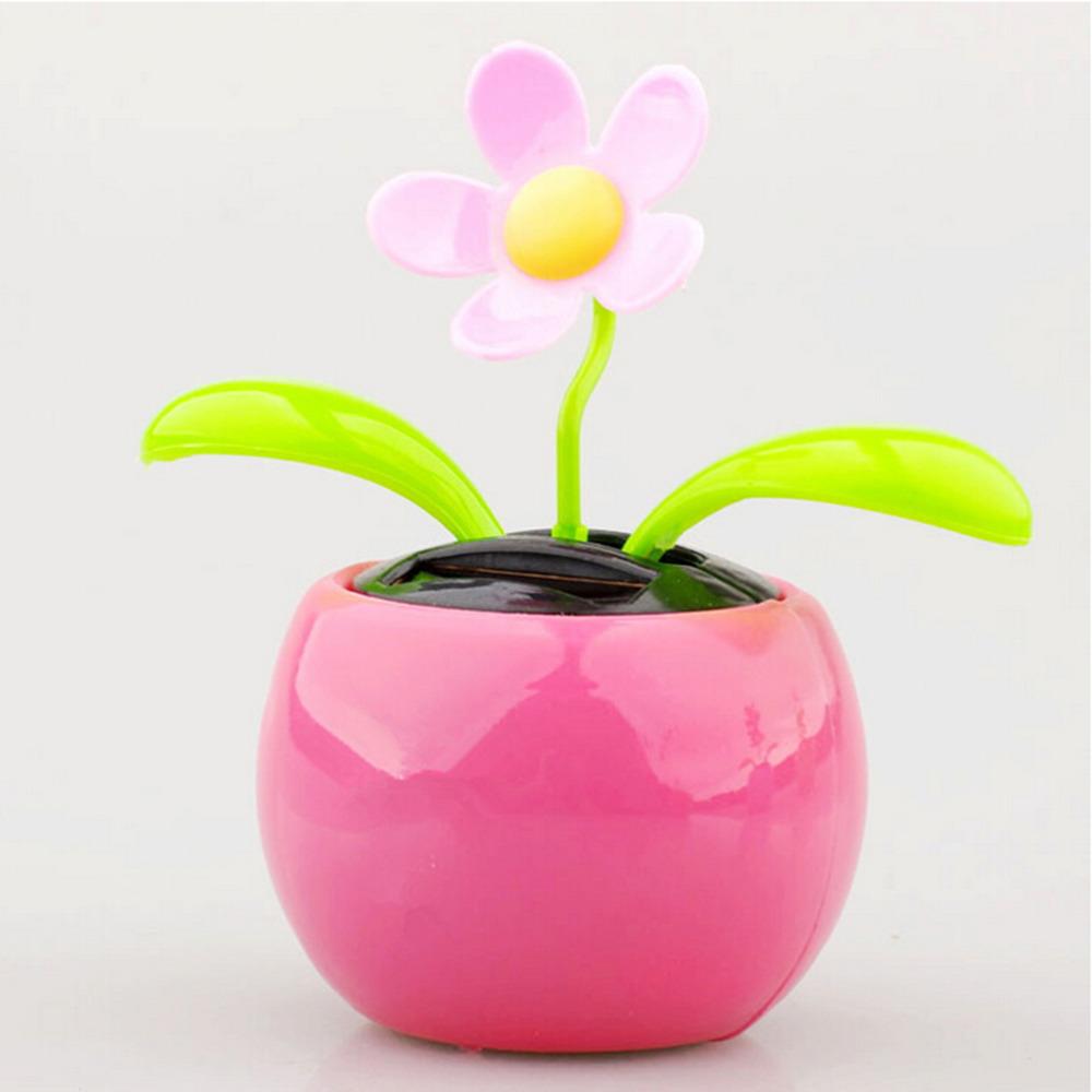 1PCS Plastic Crafts Home Car Flowerpot Solar Power Flip Flap Flower Plant Swing Auto Dance Toy Colors Random(China (Mainland))