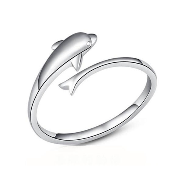 Factory Direct Sales Silver Jewelry Cute And Lovely Dolphin Ring Gift For Girls SK141(China (Mainland))