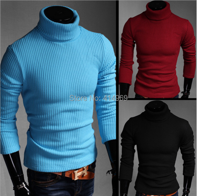2015 Spring Wear High Collar Tight Fitting Sweaters Lake Blue Mens Ribbed Turtleneck Sweaters Free Shipping(China (Mainland))