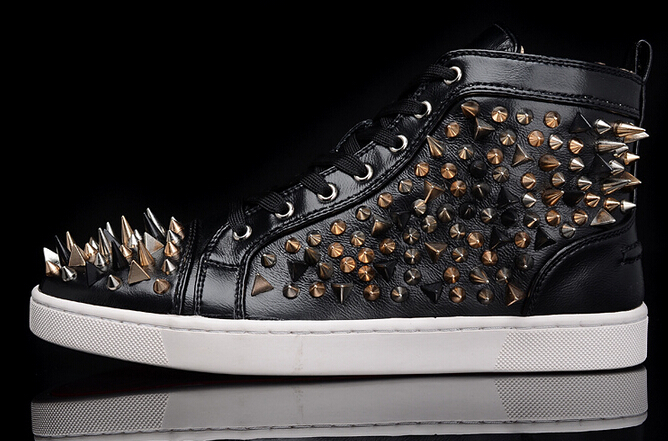 Men Black Leather With Spikes Lace Up High Top Red Bottom Sneakers, Brand Winter Casual Shoes(China (Mainland))