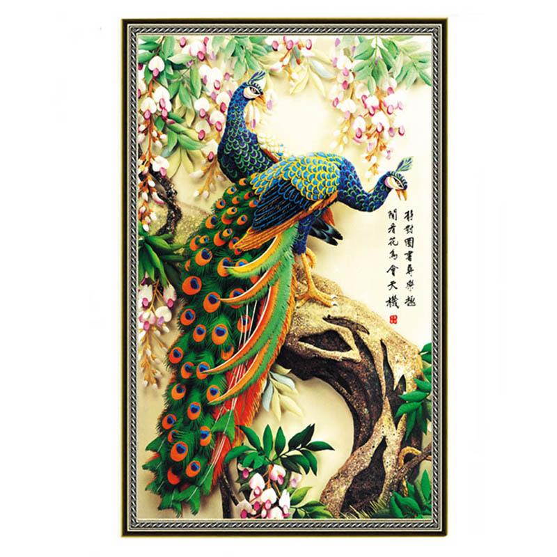 ASLT New Design DIY 5D magic cube Diamond Embroidery Rhinestone Pasted diamond painting Cross Stitch Tool Animal Lover Peacock(China (Mainland))