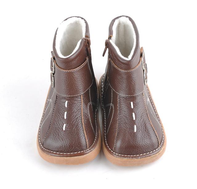 Sandq детские мягкие кожаные ботинки коричневый дети сапоги с пряжками зима теплая ...