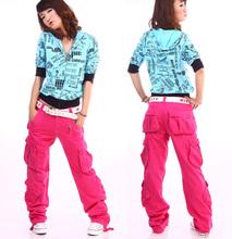 2015 Women clothing women's cargo pants multi-pockets girls harem hip hop dance pants casual baggy trousers for camping& hiking(China (Mainland))