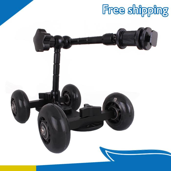 11 Articulating Magic Arm + Black DSLR Skater Wheel Camera Truck Top Dolly Kit<br><br>Aliexpress