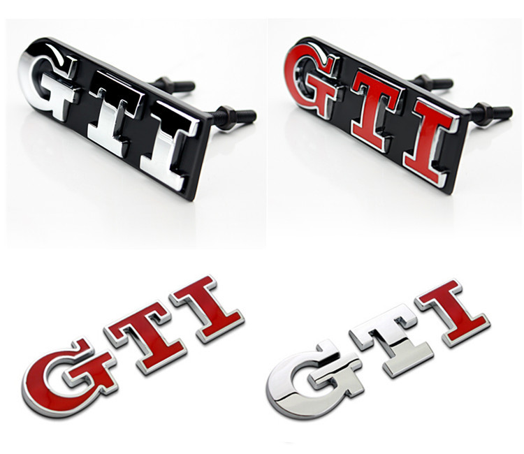 Discounted VW POLO GOLF 6 7 Chrome Metal GTI Car Tail Emblem Stickers Decoration VW GTI Car Grille Exterior Decals Accessory(China (Mainland))