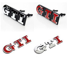 Discounted VW POLO GOLF Chrom Metal GTI Car Tail Emblem Stickers Decoration VW GTI Car Grille Exterior Decals Accessory(China (Mainland))