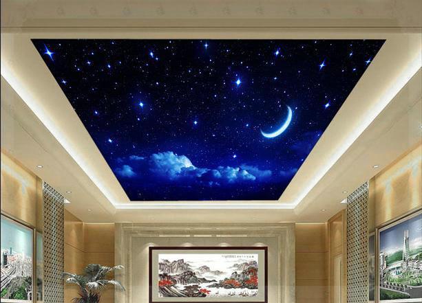 New large wallpaper custom wallpaper ceiling fresco blue for Como quitar papel mural