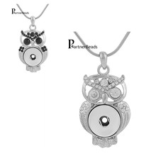 Hot seal Owl metal Pendant & necklaces charm fit chain necklace 18/20mm ginger snaps buttons charm KB3376(China (Mainland))