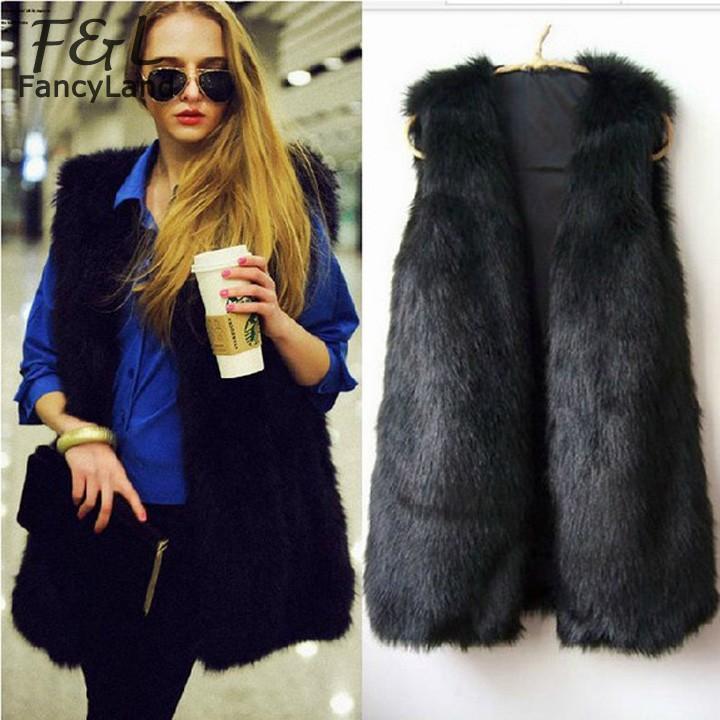 Crazy Discount Women Faux Fur Vest Winter Long Vest Sleeveless Luxury Fur Coat Plus Size Slim Fur Vest 12(China (Mainland))