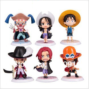 Drop Free Shipping/Hot Sale Q Style ONE PIECE PVC Toy Figures,Straw Hat Legion Animi 5-8cm,6PCS/SET