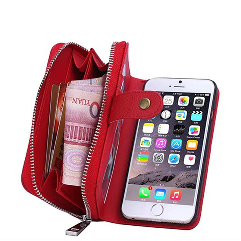 Iphone 6 6S case PU Leather Zipper Lady Handbag Card Slot Wallet Stand Multi-functional Phone Case Cover I6 IPhone - OLLIVAN Headquarters Store store