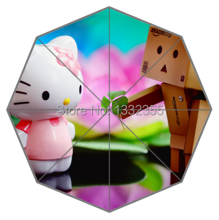 Pink Little Kitty Love Wooden Man Theme Umbrella Unique Design Umbrellas(China (Mainland))