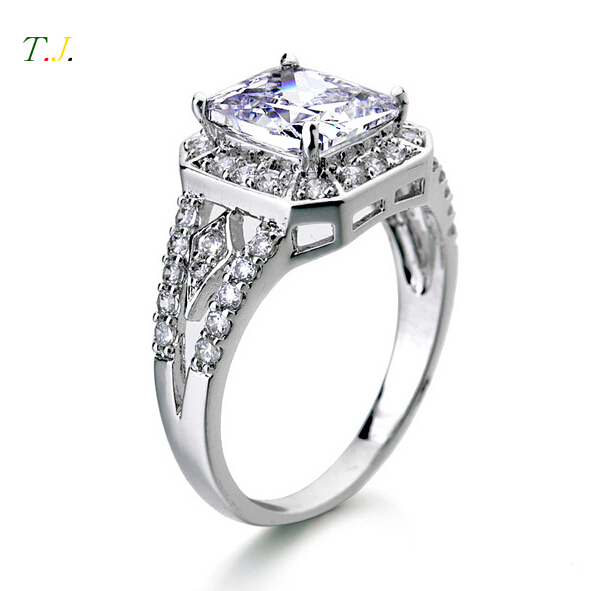 Real 925 Sterling Silver Ring Engagement Finger CZ Diamond for Women Wedding Jewelry Pure 100% Square Ring T.J. RWD418(China (Mainland))