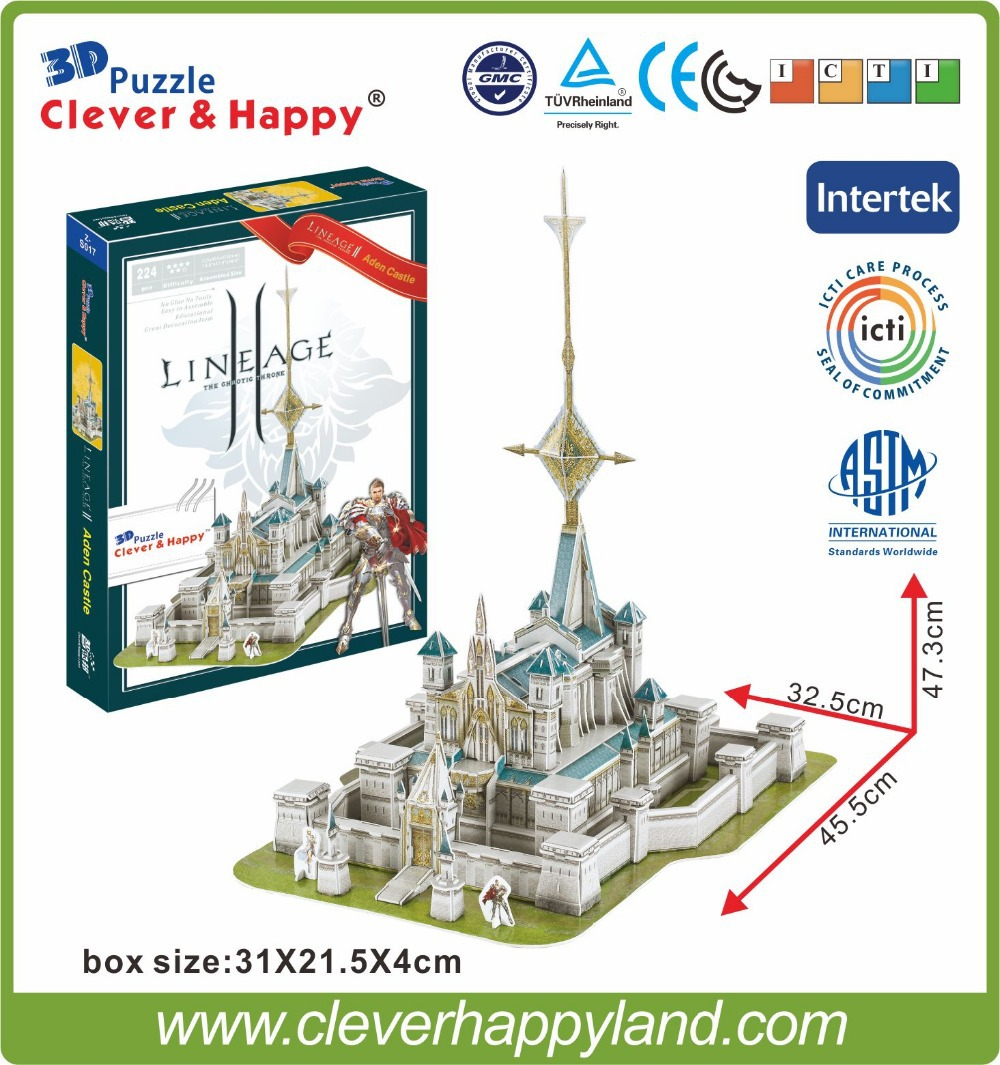 Best selling toy 3d puzzle game Lineage 2 Aden Castle paper model 224PCS(China (Mainland))