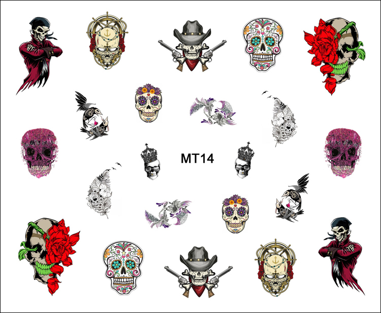 1 Sheet Nail MT14 Beauty Flower Feather Skull Fashion Nail Art Water Transfer Sticker Decal For Nail Tattoo Tips Nail Tools(China (Mainland))
