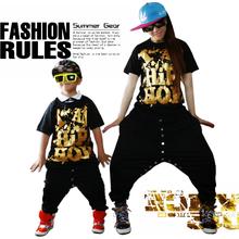 2015 New fashion Brand kids Adult Sweatpants Costumes wear button jazz sports trousers black gold Harem Hip Hop Dance Pants(China (Mainland))