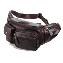 Fashion Genuine Leather waist bag for men fanny pack Leather pochete belt bag sport waist pack money belt waist pouch #VP-J7210