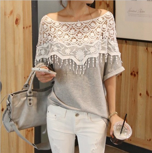3945 2015 sweet lace cutout shirt women handmade crochet cape collar batwing sleeve blouse medium-long t - BestHeart store