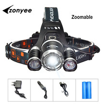 Zonyee 10000 Lumen Headlight Headlamp Zoom Flashlight Torch 3 CREE XM-T6 LED Head Lights Lamp with Batteries + Wall/Car Charger(China (Mainland))