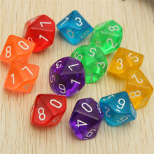 New Arrival 10Pcs 5Color lot Mixed Color D10 Ten Sided Gem Transparent Dice For RPG For DDG Set of 10 Dice Playing Games(China (Mainland))