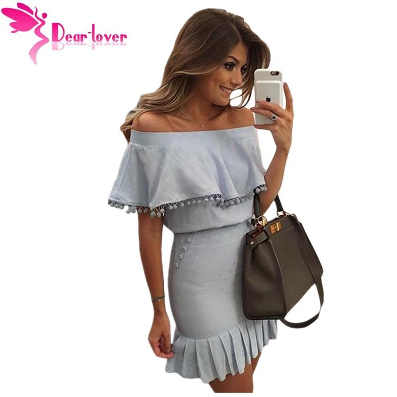 Caro Amante Ruffles barra neck Sexy Partido de Escritório Azul Pom Pom guarnição Overlay Off Ombro Mini Vestido Vestidos Tubo Novo 2016 LC22808