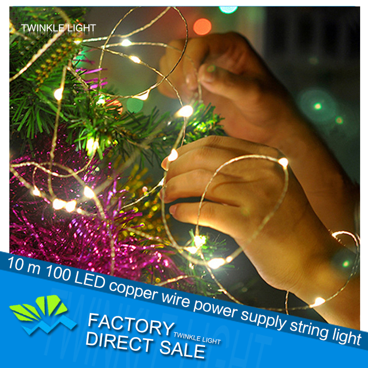 Warm White LED copper wire string light+DC power source 12V 10m party showcase decorative holiday Christmas light free shipping(China (Mainland))