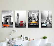 4 pieces Black and white living room modern minimalist car painting decorative mural paintings picture print on canvas F/519(China (Mainland))
