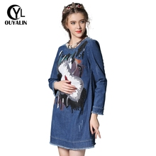 Buy S-5XL Autumn Ladies Big Size Abstract Sequined Knee Length Casual Denim Dress Fashion Plus Size Women Long Sleeve Dresses Y960 for $52.09 in AliExpress store