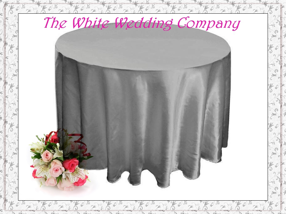 10pcs 70'' Round Satin SILVER Tablecloths for Weddings Tablecloth Set Table Cloth Round Tablecloths Wedding Table Linens(China (Mainland))