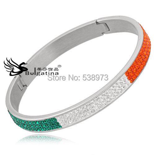 stainless steel bracelet women bangles 3 row mixed color crystal silver plated CH4231 - Disha Findings store